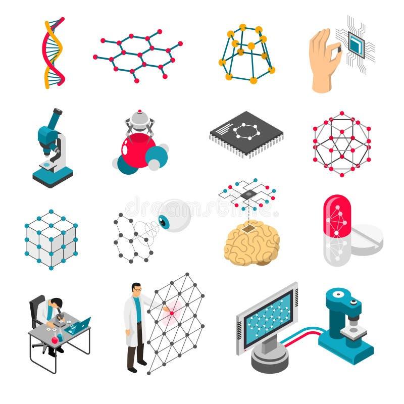 Nano Technology Isometric Icons Set stock illustration