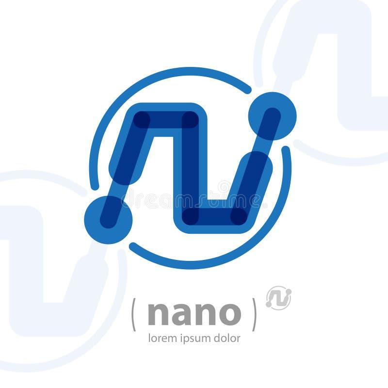 Nano teknologilogomall Framtida högteknologisk symbol Utvald vektor vektor illustrationer
