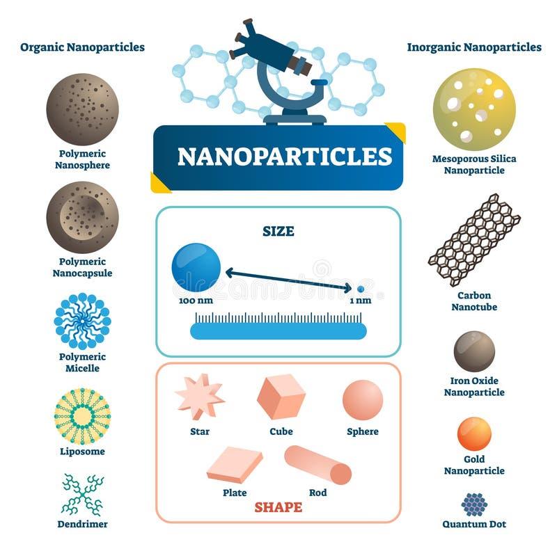 Nanoparticles märkte infographic Mikroskopisk beståndsdelvektorillustration royaltyfri illustrationer