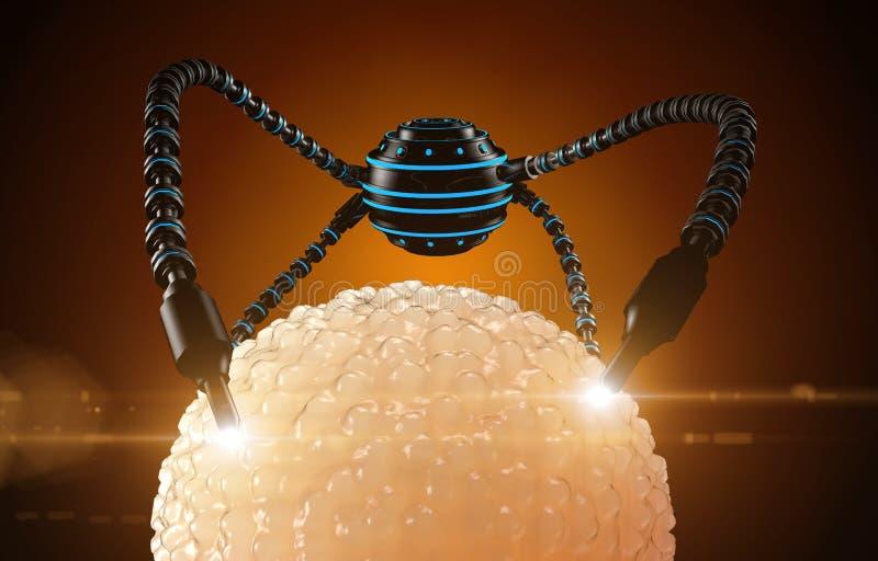 Nanorobot gödslar cellägget Anatomisk framtid för medicinskt begrepp royaltyfri foto