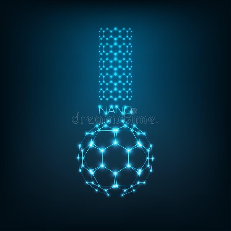 Nanoscience, nanotechnologieconcept met koolstof nanotube, buckyball fullerene en woord nano in vorm van chemische beker stock illustratie
