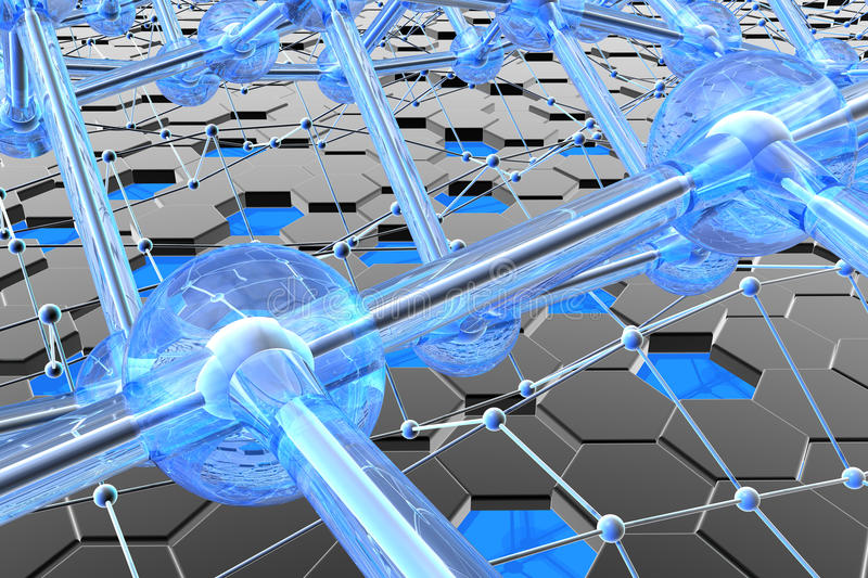 Nanostructures, carbon and silicon stock illustration
