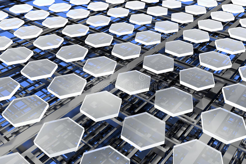 Nanostructures, Kohlenstoff und Silikon stockbilder