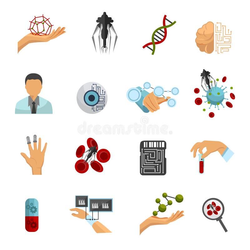 Nanotechnologie Gekleurde Pictogramreeks stock illustratie