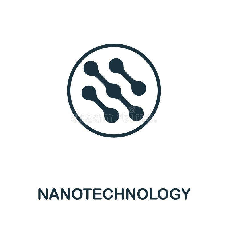 Nanotechnologievektor-Ikonensymbol Kreatives Zeichen von der Biotechnologieikonensammlung Gefüllte flache Nanotechnologieikone vektor abbildung
