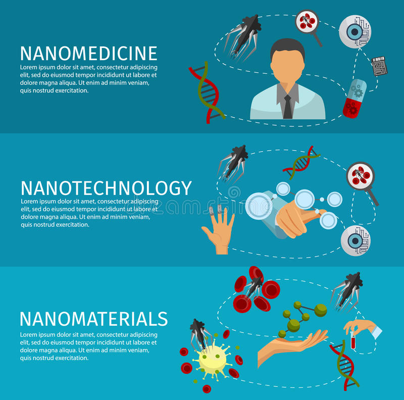 Nanotechnology Banner Set stock illustration