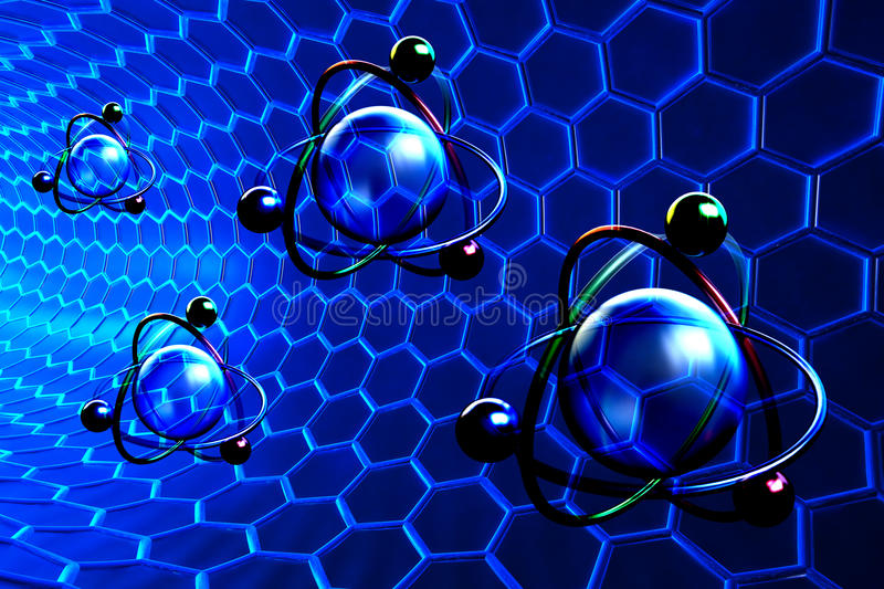 Nanotechnology and molecular structure concept stock illustration