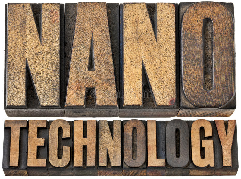 Nanotechnology in wood type royalty free stock photo