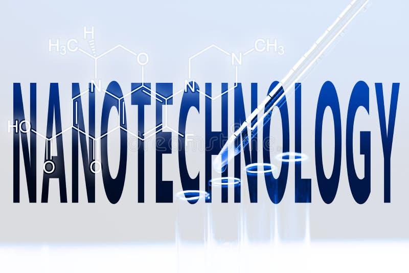 Nanotecnología de la palabra foto de archivo