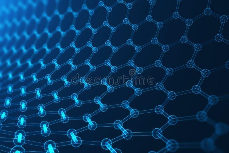 nanotecnología de la representación 3d, primer geométrico hexagonal de la forma que brilla intensamente, estructura atómica del g stock de ilustración