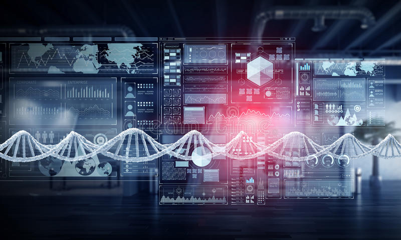 Nanotecnologías e investigación de la molécula de la DNA Técnicas mixtas fotografía de archivo libre de regalías