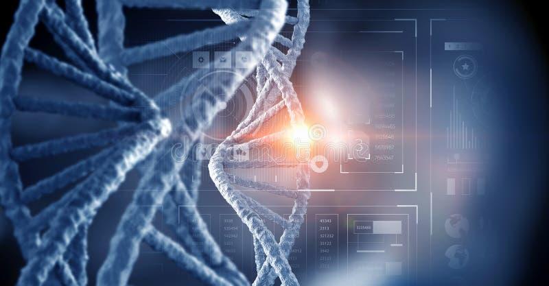 Nanotecnologia e pesquisa da molécula do ADN Meios mistos ilustração royalty free
