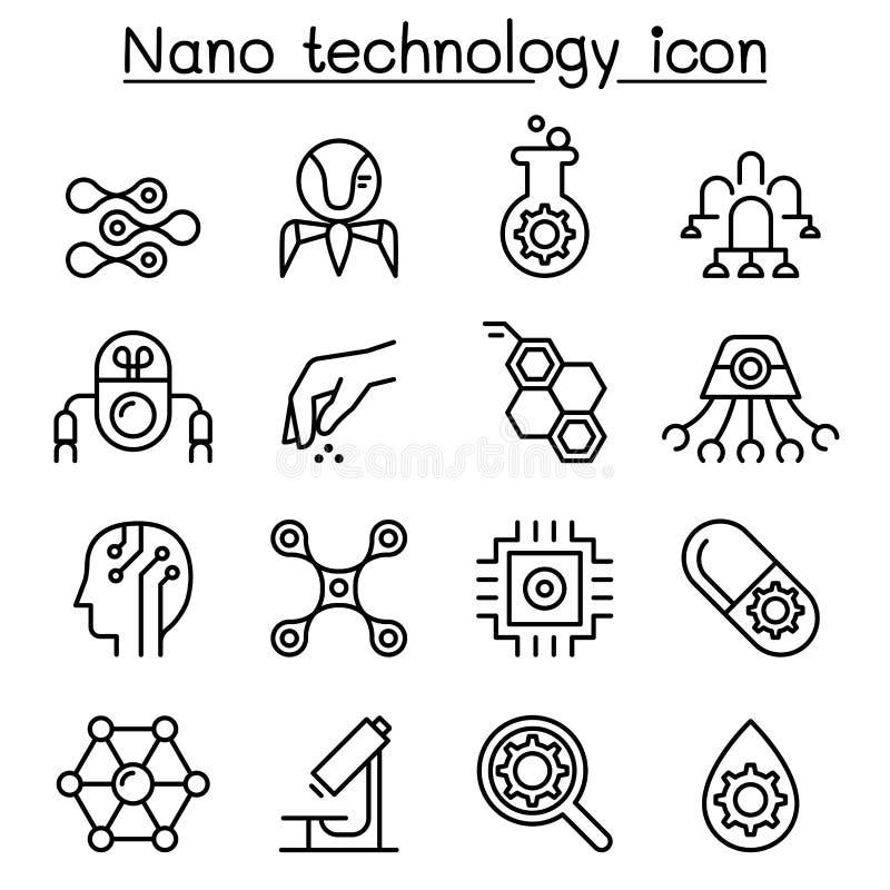 Nanotekniksymbolsuppsättning i den tunna linjen stil stock illustrationer