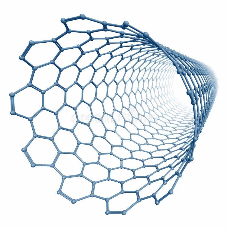 nanotubeframförande för molekyl 3d stock illustrationer