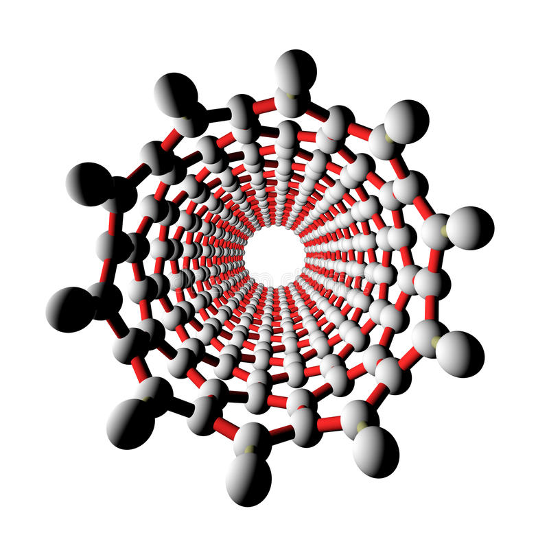 nanotubesikt för kol 3d stock illustrationer