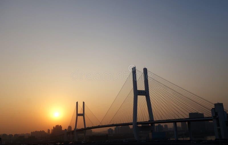 Nanpu bro i Shanghai över solnedgången royaltyfri fotografi