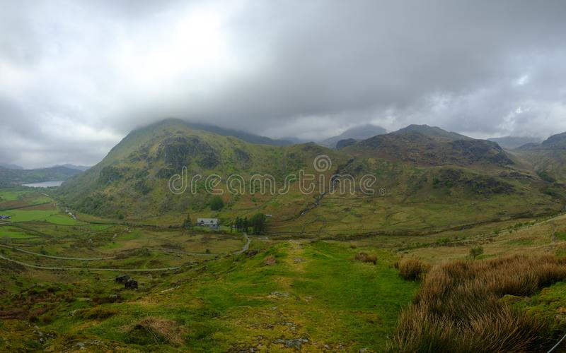 The view towards Snowdon from the A498 viewpoint climbing up to Pen-Y-Pass, Wales royalty free stock photos