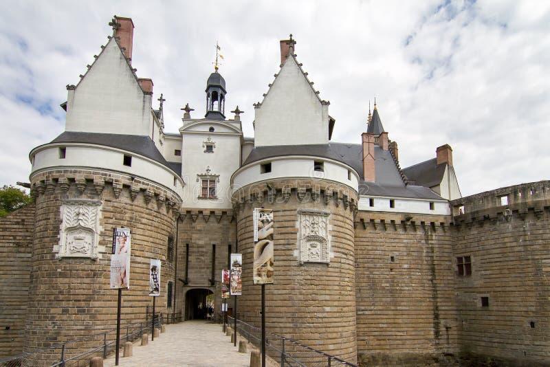 Nantes castle entrance stock images