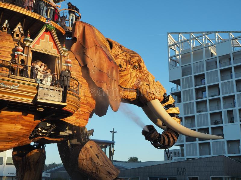 Nantes, France. The amusement park Machines of the Isle of Nantes. The big elephant stock images
