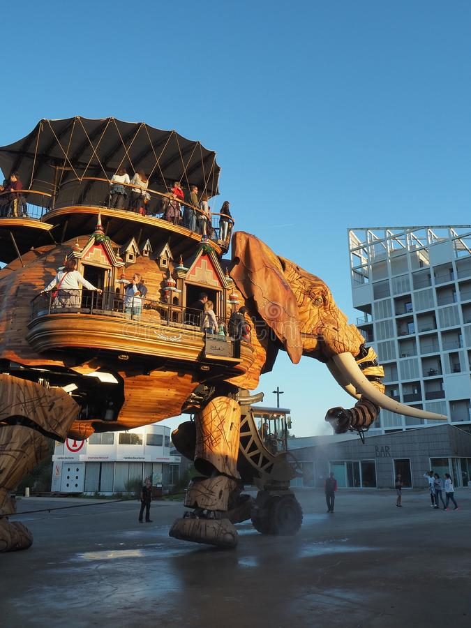 Nantes, France. The amusement park Machines of the Isle of Nantes. The big elephant royalty free stock photography
