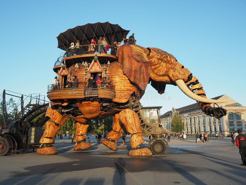 Nantes, France. The amusement park Machines of the Isle of Nantes. The big elephant royalty free stock image