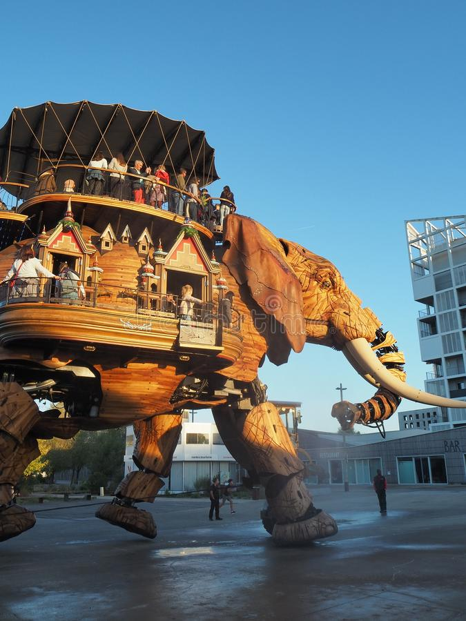 Nantes, France. The amusement park Machines of the Isle of Nantes. The big elephant stock photos