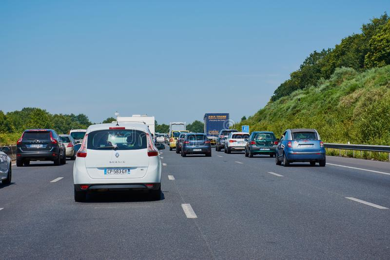 Traffic jam on a French highway royalty free stock photo