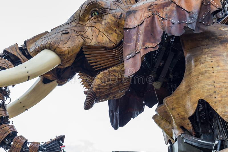 Nantes, France - May 3, 2017: The Great Elephant is part of the. Machines of the Isle of Nantes carrying passengers in city square in Nantes, France royalty free stock photo