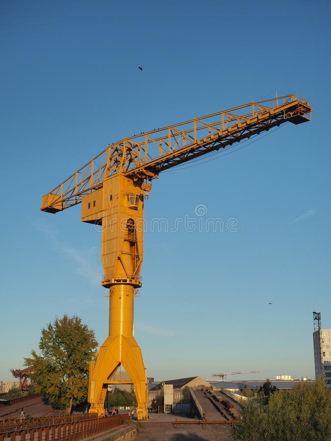 Nantes, France. The yellow Jaune crain at the tourist docks royalty free stock photography