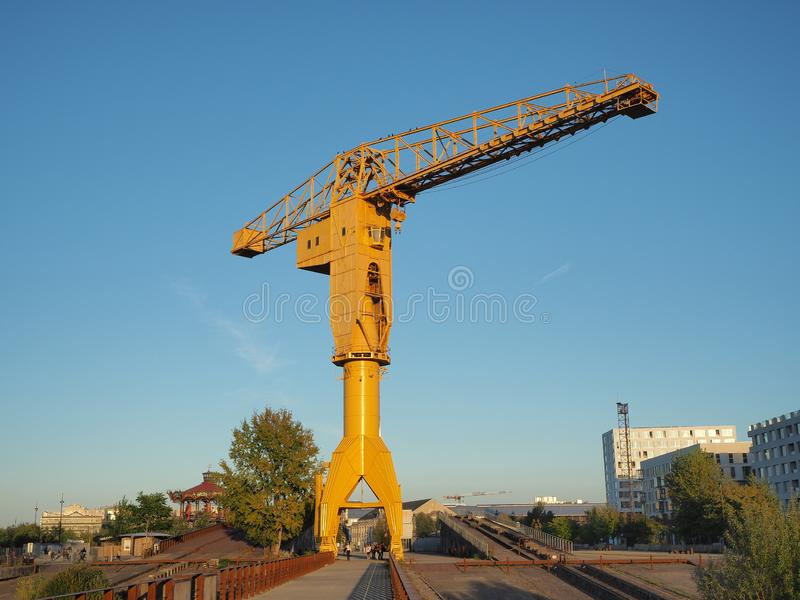 Nantes, France. The yellow Jaune crain at the tourist docks stock image