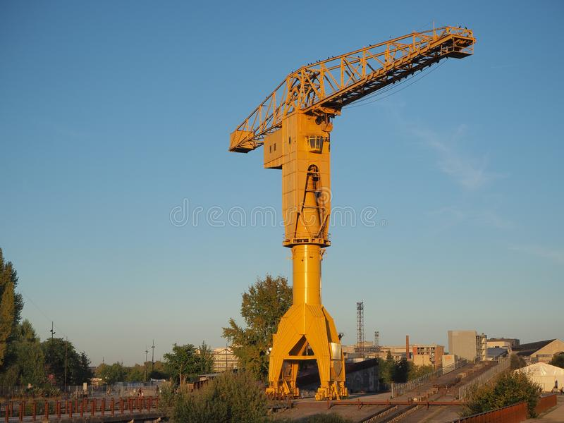 Nantes, France. The yellow Jaune crain at the tourist docks royalty free stock photos