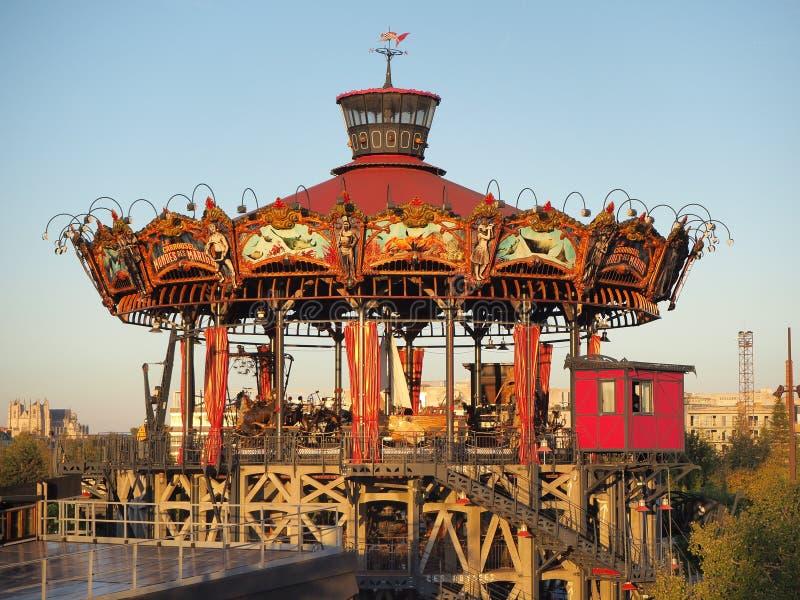 Nantes, Francia Il carosello del parco di divertimenti di Marine Worlds immagini stock
