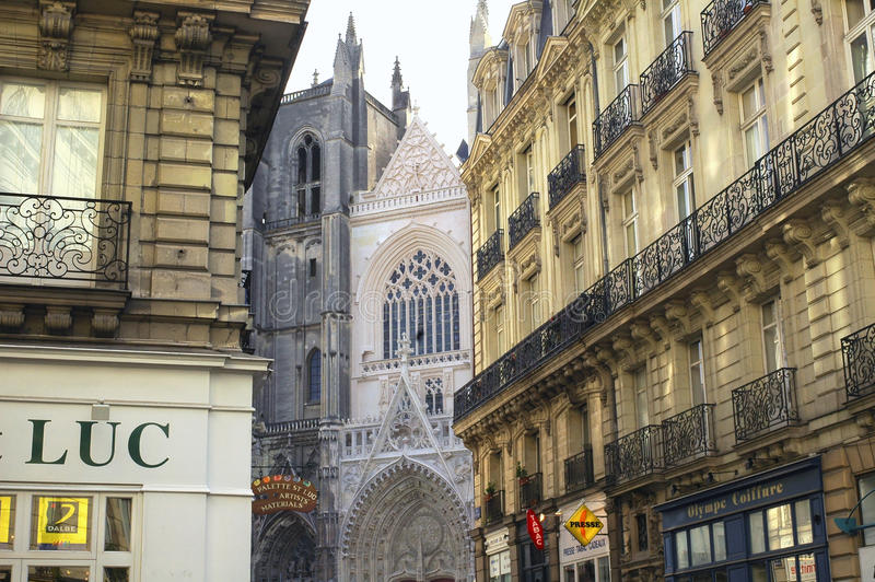 Nantes (Frankrike): gotiska byggnader royaltyfria foton