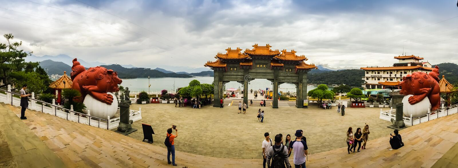 Nantou, Taiwan - November 21, 2015: Tourist visited the beautiful of Sun Moon Lake Wen Wu Temple nearby Sun Moon Lake in Yuchi To stock photos