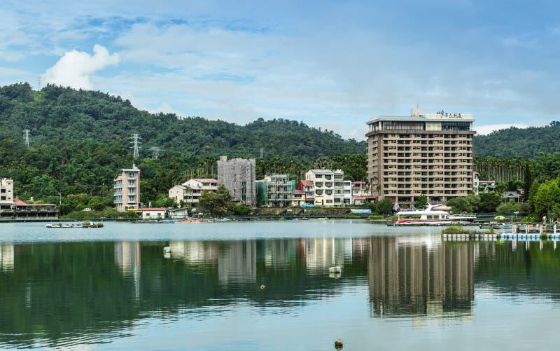 Nantou,Taiwan-03 SEP 2017:sun moon lake lakeside waterfront landscape royalty free stock image