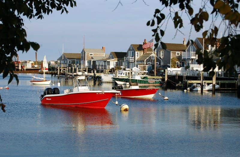 Nantucket, MA: Fischerboote stockfoto
