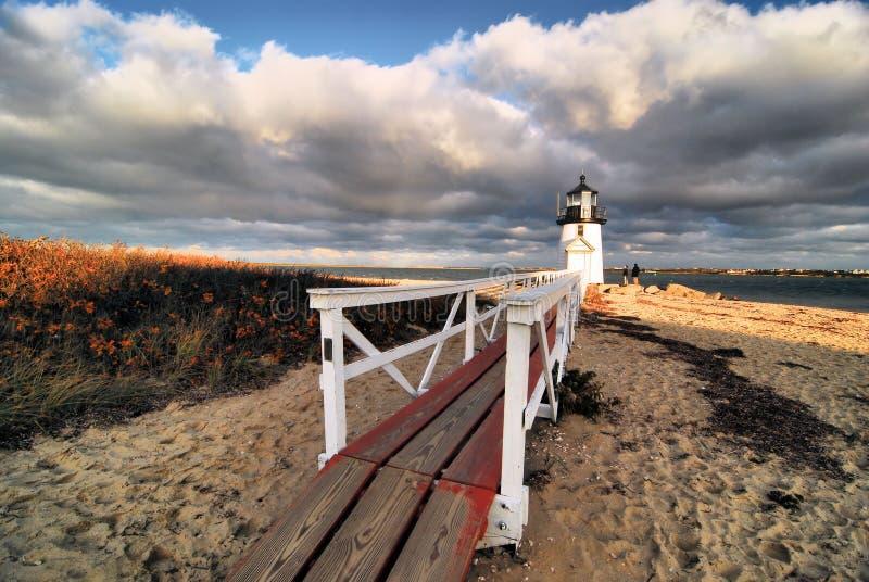 Nantucket-` s Brant Point Lighthouse stockbilder