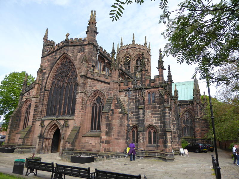 English parish church. The parish church of Nantwich in Cheshire, England stock image