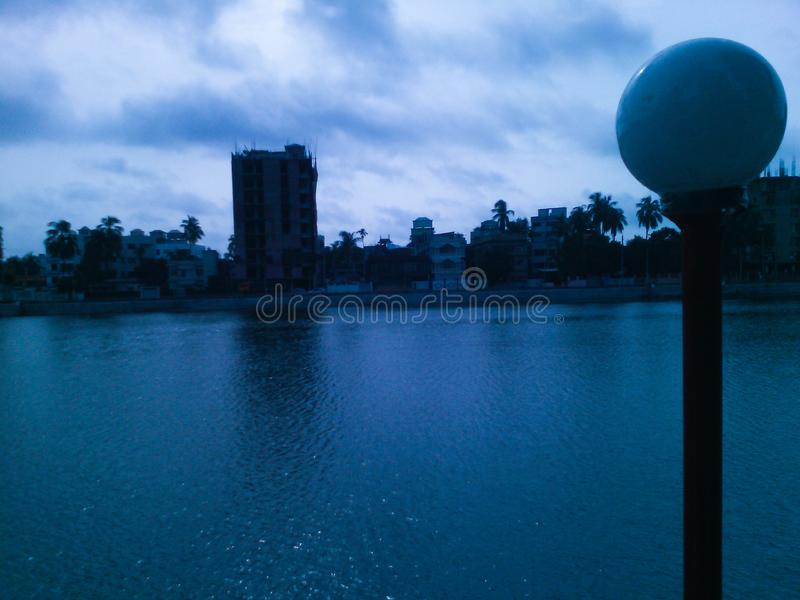 Nanua Dighi,库米拉 孟加拉国的库米拉区它的著名&美丽的dighi  库存照片