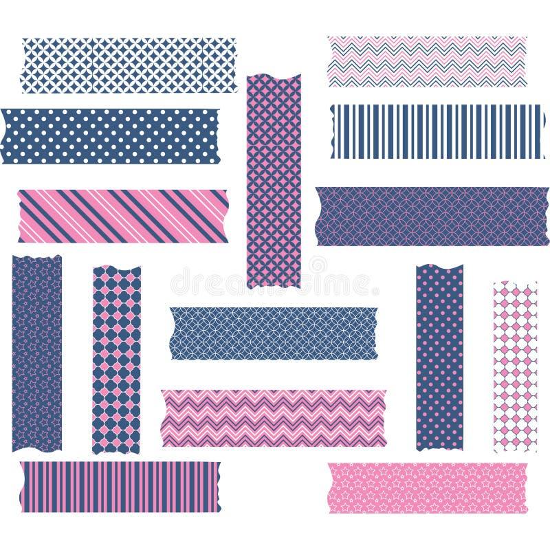 Nany y gráficos rosados de la cinta de Washi fijados stock de ilustración