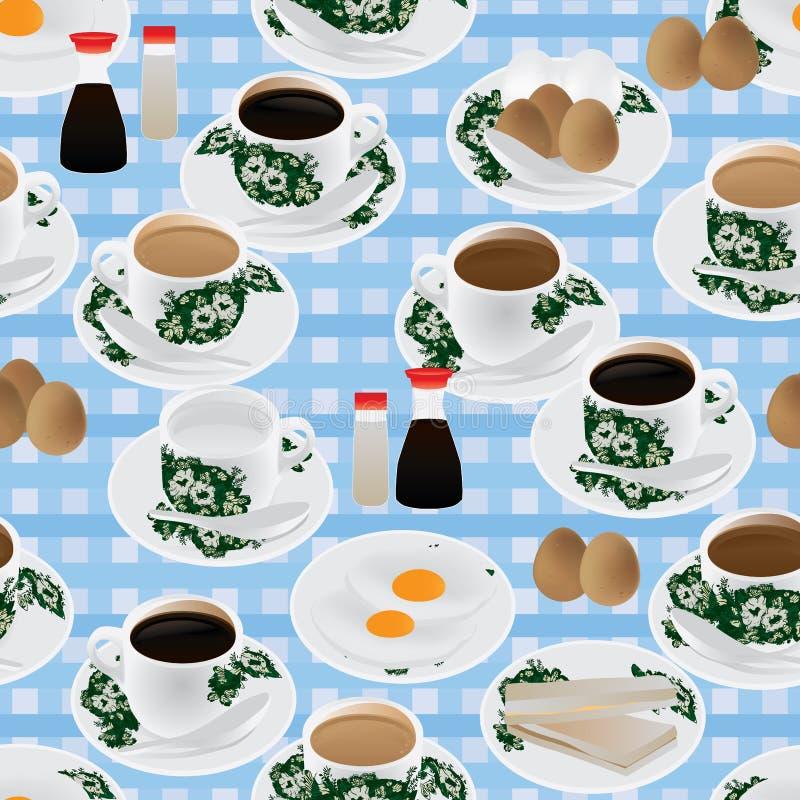 Nanyang śniadaniowy bezszwowy wzór ilustracji