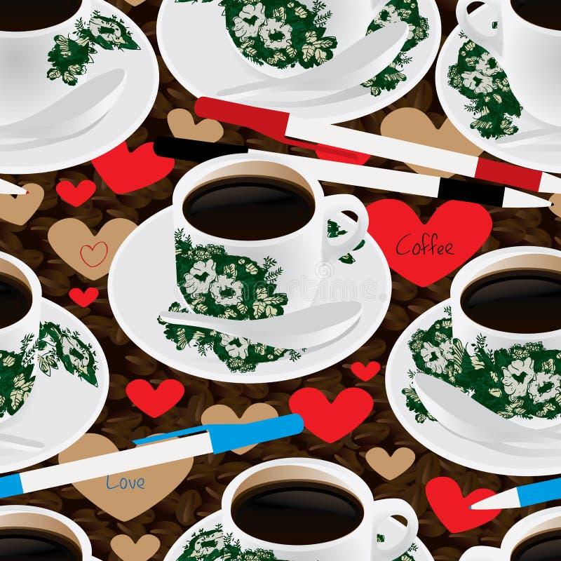 Nanyang kawowa fasola pisze pióro miłości bezszwowym wzorze ilustracji