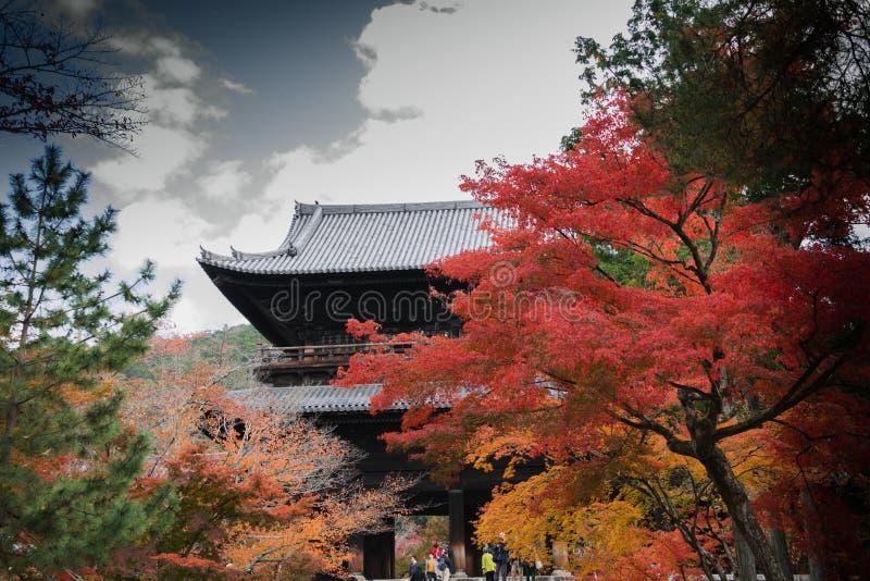 Nanzenji temple framed by beautiful autumn maple. Higashiyama  Kyoto stock photos