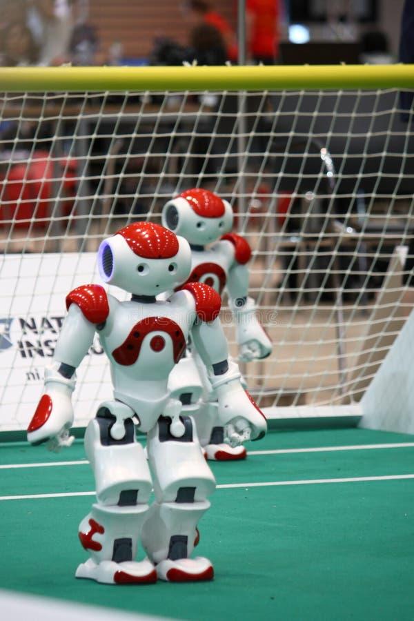 nao-robocuprobotar 2009 två royaltyfri bild