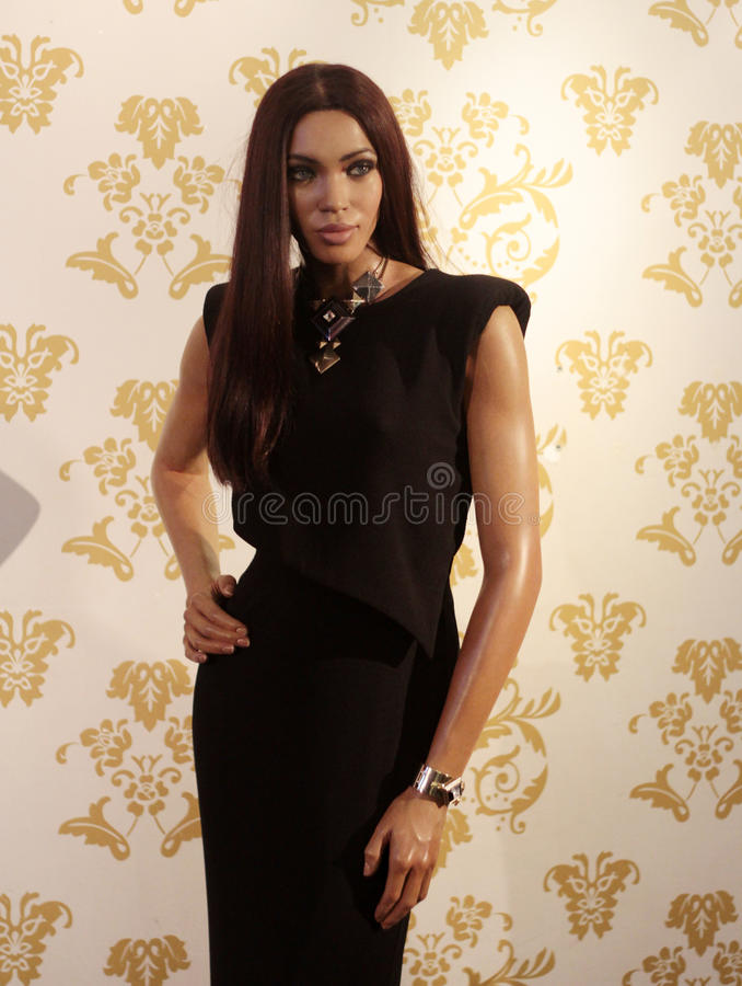 Naomi Campbell. Wax statue at Madame Tussauds in London royalty free stock image