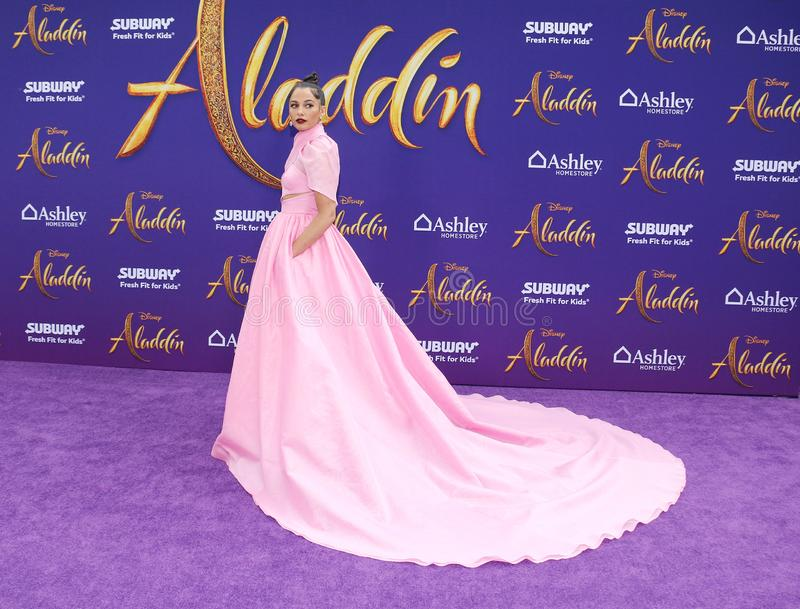 Naomi Scott. At the Los Angeles premiere of `Aladdin` held at the El Capitan Theatre in Hollywood, USA on May 21, 2019 stock images