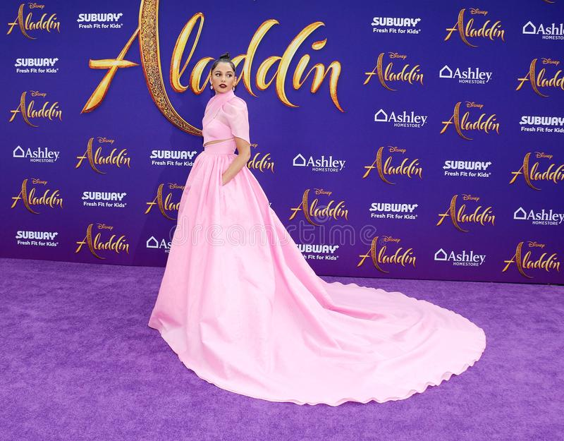 Naomi Scott. At the Los Angeles premiere of `Aladdin` held at the El Capitan Theatre in Hollywood, USA on May 21, 2019 royalty free stock images