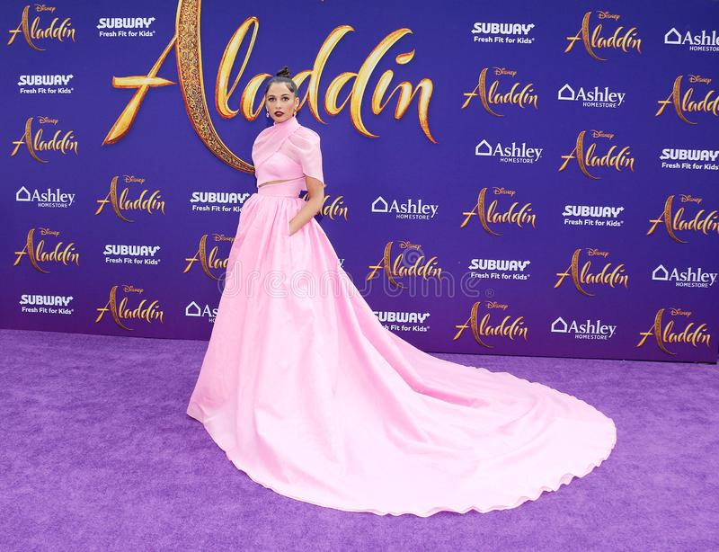 Naomi Scott. At the Los Angeles premiere of `Aladdin` held at the El Capitan Theatre in Hollywood, USA on May 21, 2019 royalty free stock photos