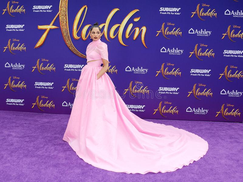 Naomi Scott. At the Los Angeles premiere of `Aladdin` held at the El Capitan Theatre in Hollywood, USA on May 21, 2019 stock photography