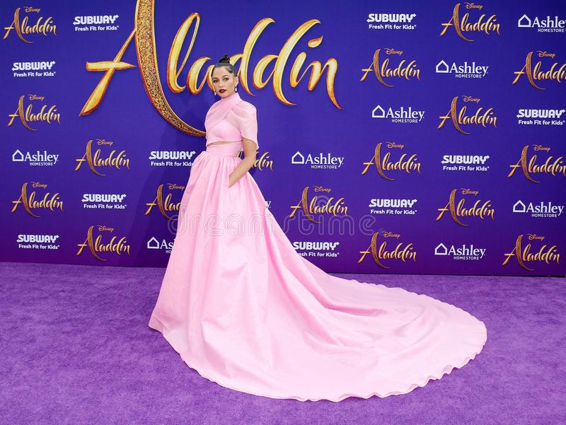 Naomi Scott. At the Los Angeles premiere of `Aladdin` held at the El Capitan Theatre in Hollywood, USA on May 21, 2019 stock photos